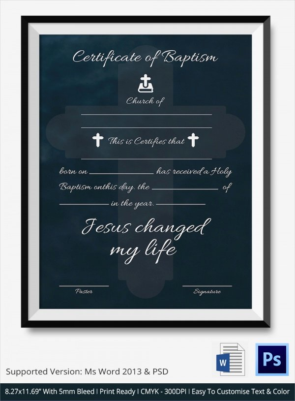 Baptism Certificate Template Word Beautiful 20 Baptism Certificates