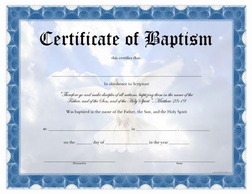 Baptism Certificate Template Word Inspirational Free Printable Baptism Certificate