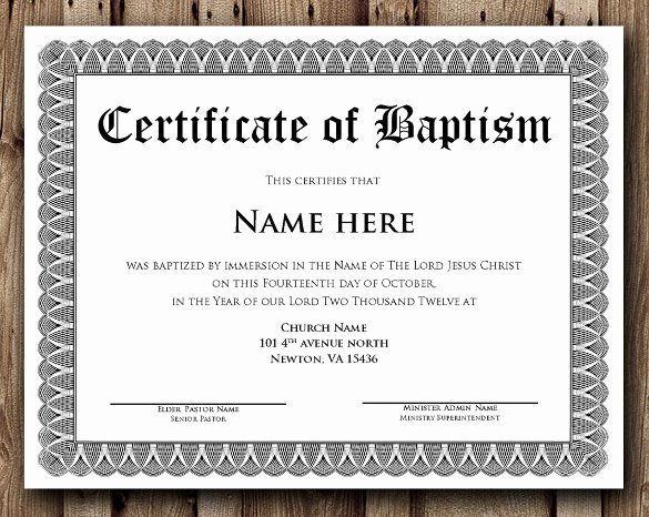 Baptism Certificate Template Word Lovely 36 Word Certificate Templates