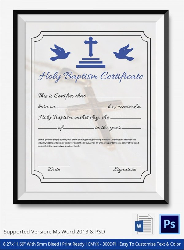 Baptism Certificate Template Word New 20 Baptism Certificates