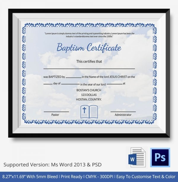 Baptism Certificate Template Word New 21 Sample Baptism Certificate Templates Free Sample