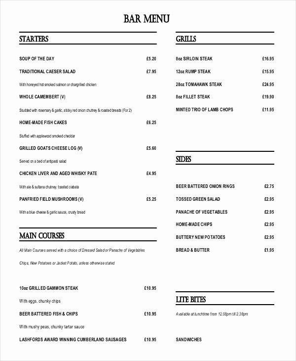 Bar Menu Template Free Beautiful 30 Menu Templates Free Sample Example format