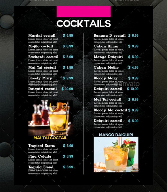 Bar Menu Template Free Beautiful Cocktail Menu Templates – 54 Free Psd Eps Documents