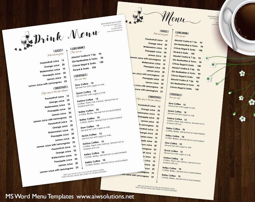 Bar Menu Template Free Elegant Design & Templates Menu Templates Wedding Menu Food