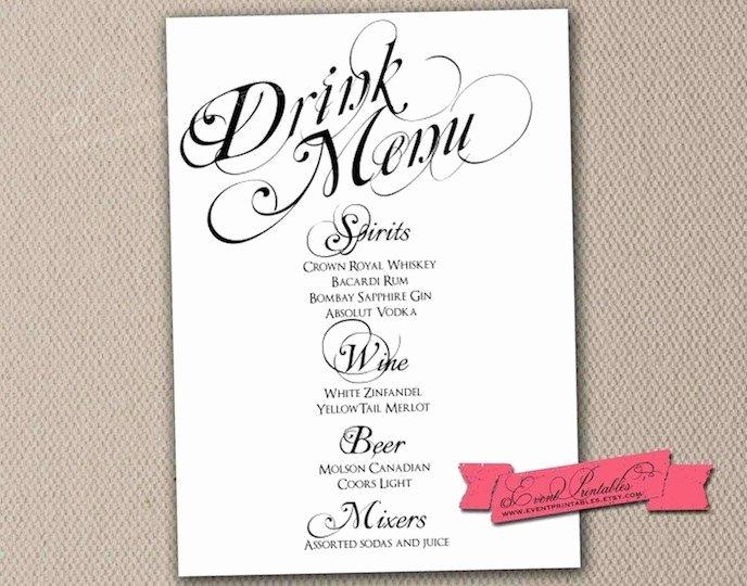 Bar Menu Template Free Elegant Printable Drink Menu Card Diy Wedding Reception by