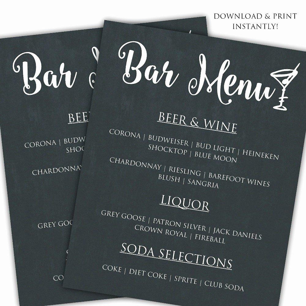 Bar Menu Template Free Inspirational Printable Diy Bar Menu Template Posh Pixel Boutique