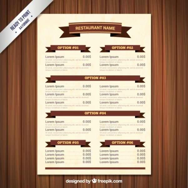 Bar Menu Template Free Unique 50 Free Food & Restaurant Menu Templates Xdesigns