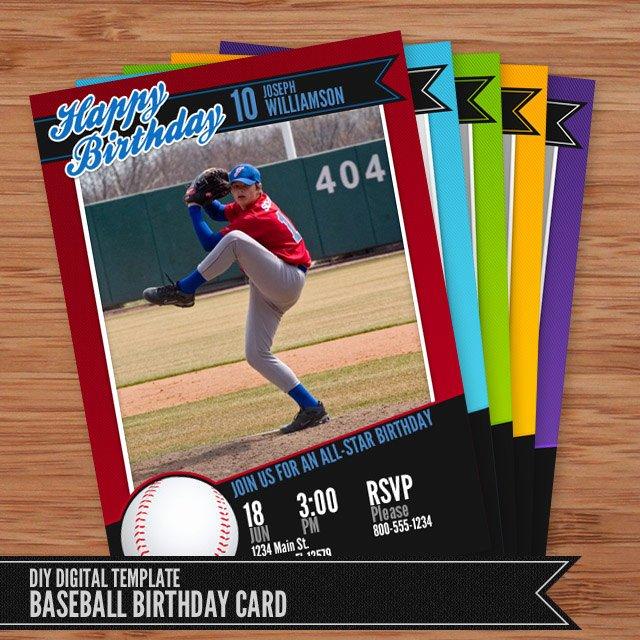 baseball card birthday invitation 5x7