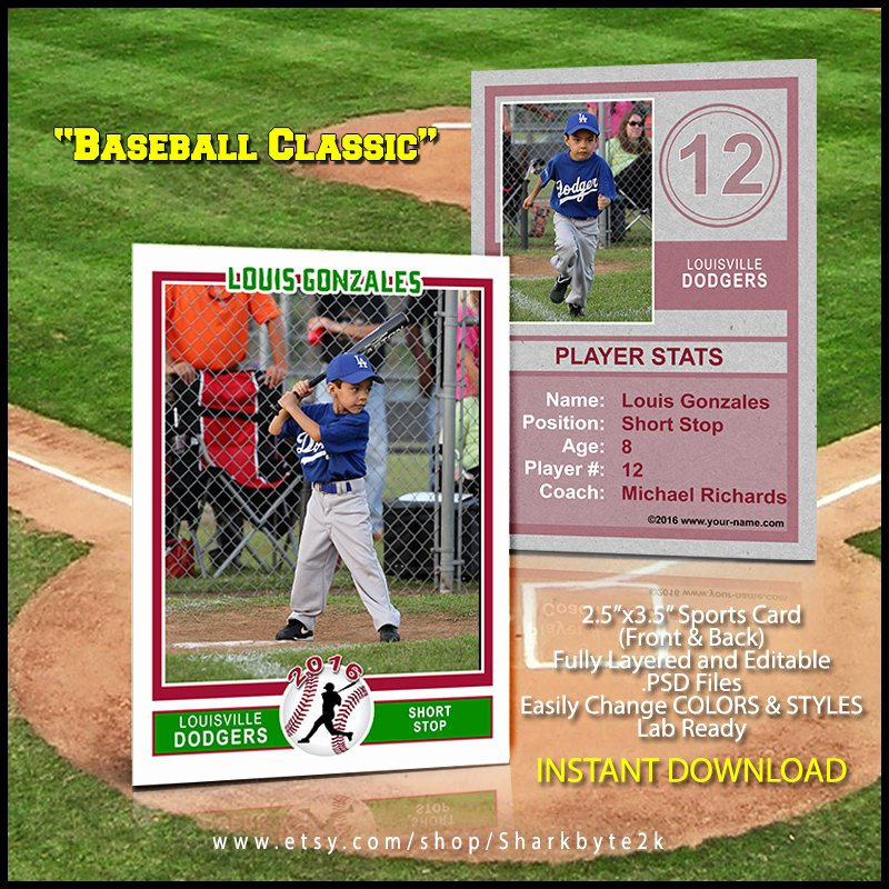 Baseball Card Template Photoshop Unique Baseball Sports Trader Card Template for Shop