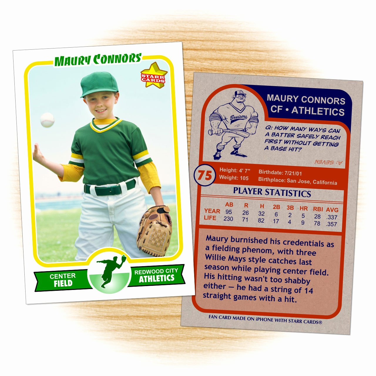 Baseball Card Template Word Unique Make Your Own Baseball Card with Starr Cards
