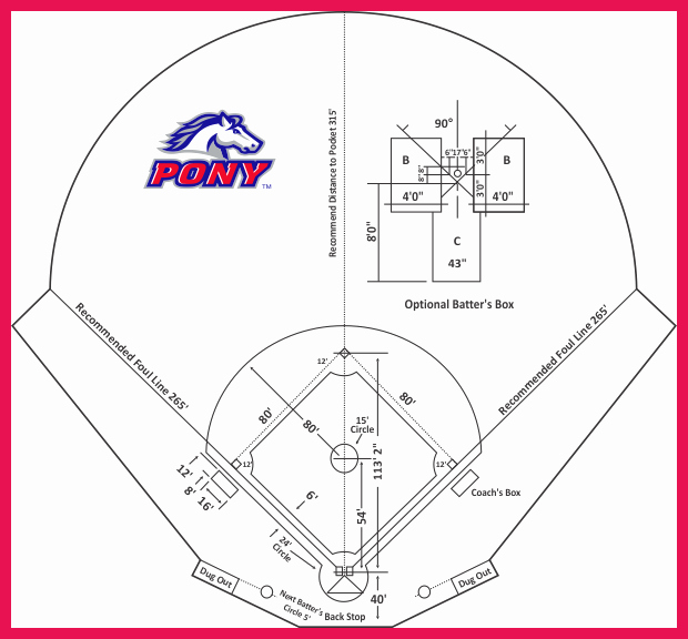 Baseball Field Layout Template New Baseball Diamond Dimensions