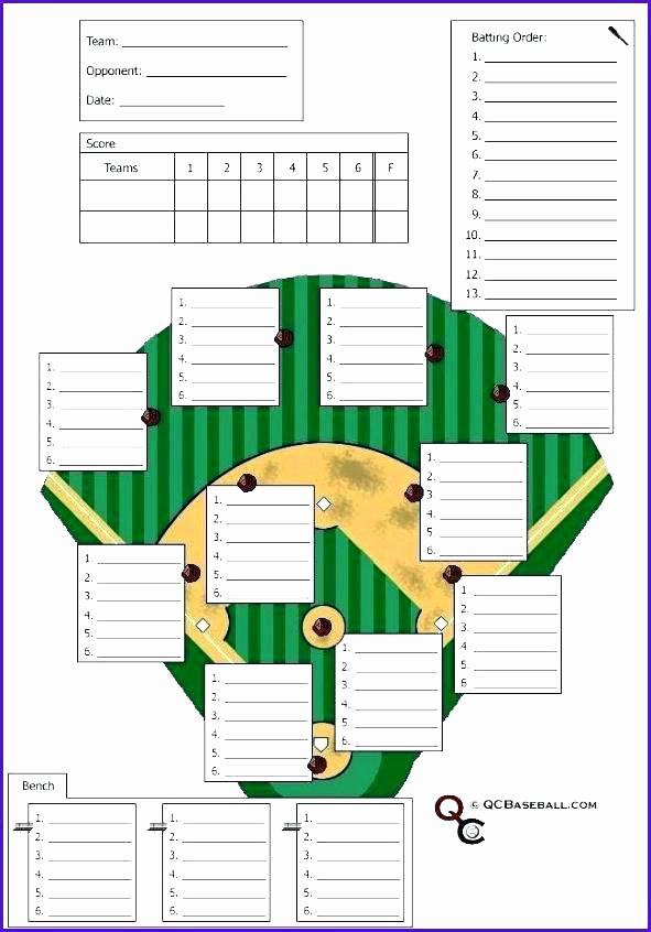 Baseball Lineup Card Template Lovely softball Lineup Template Dugout Card Excel Batting order