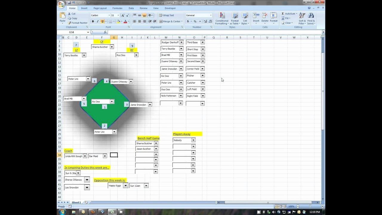 Baseball Lineup Excel Template Unique Baseball Lineup Creator