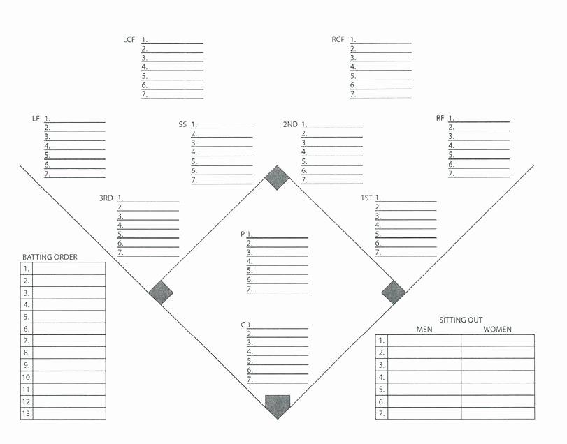 Baseball Lineup Template Pdf Best Of Baseball Field Template D Chart softball Layout Printable