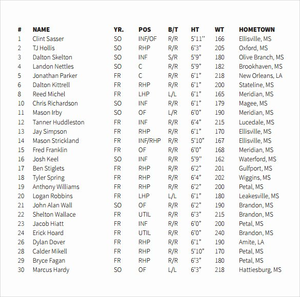 Baseball Lineup Template Pdf New 7 Sample Baseball Roster Templates