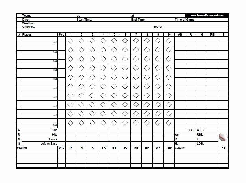 Baseball Score Sheet Template Lovely 30 Printable Baseball Scoresheet Scorecard Templates