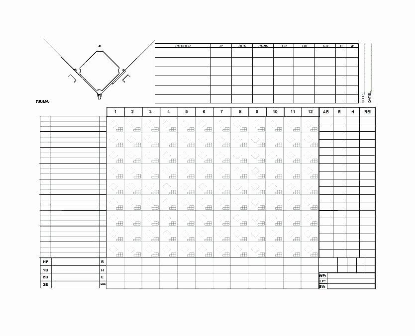 Baseball Score Sheet Template Luxury Baseball Score Sheet Templates Scorebooks with Pitch Count