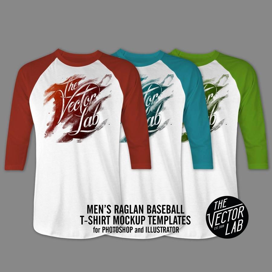 Baseball Shirt Designs Template Awesome Men S Raglan T Shirt Mockup Templates thevectorlab