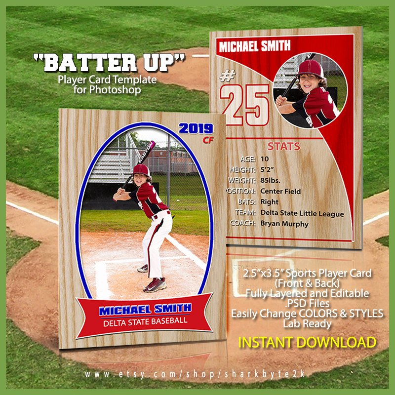Baseball Trading Cards Template Best Of Baseball Sports Trader Card Template for Shop Batter Up