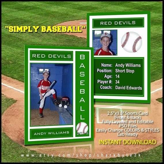 Baseball Trading Cards Template New 2017 Baseball Sports Trader Card Template for Shop Simply