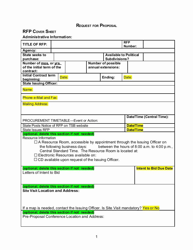 Basic Bid Proposal Template New Rfp Template Word Document