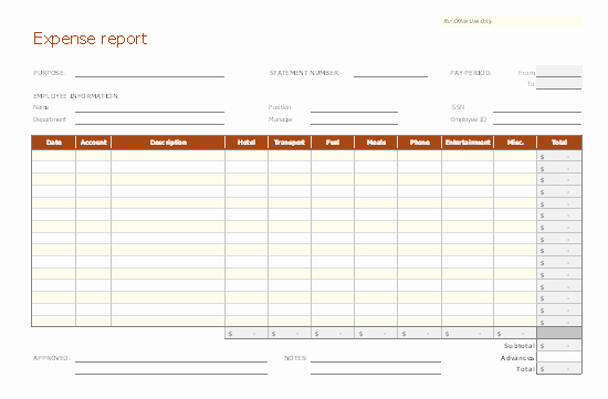 Basic Expense Report Template Fresh Expense Report Templates My Business