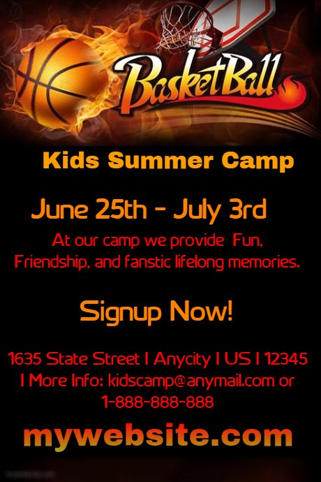 Basketball Camp Flyer Template Awesome Kids Basketball Camp Template