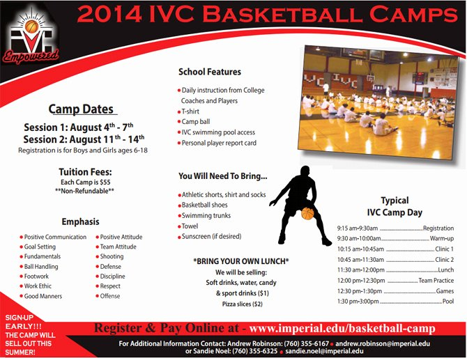 Basketball Camp Flyer Template Elegant Pin Basketball Camp Brochure On Pinterest