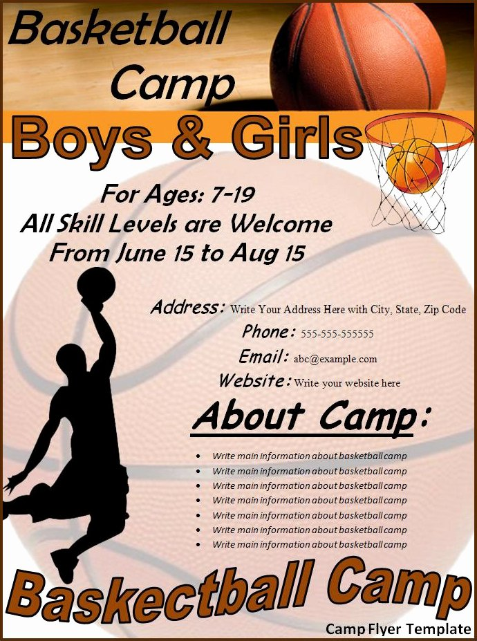 Basketball Camp Flyer Template Unique Camp Flyer Template Best Word Templates