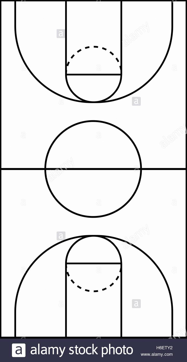 Basketball Court Design Template Unique A4 Size Vertical Basketball Court Line Vector Stock Vector