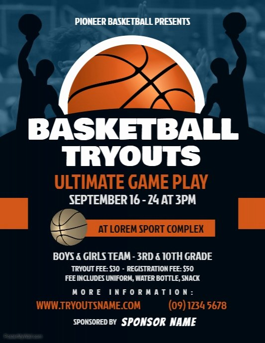 Basketball Flyer Template Free Awesome Basketball Tryouts Flyer Template