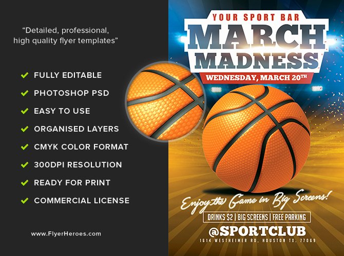 Basketball Flyer Template Free Elegant March Madness Basketball Flyer Template Flyerheroes