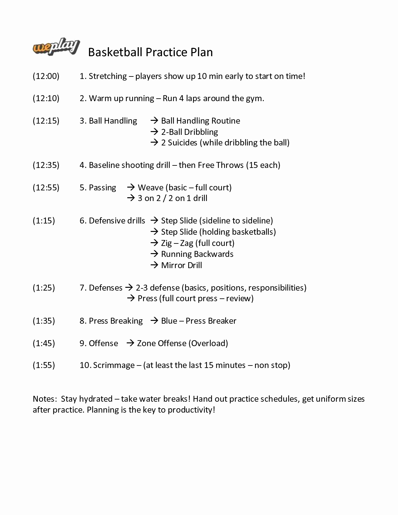 Basketball Practice Plan Template Beautiful Basketball Practice Plan Template