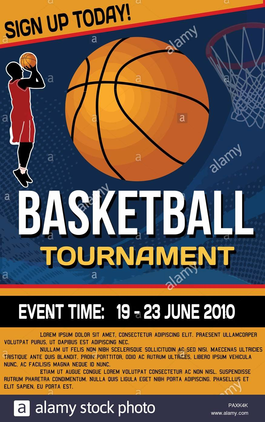 Basketball tournament Flyer Template Elegant Basketball tournament Flyer or Poster Background Vector