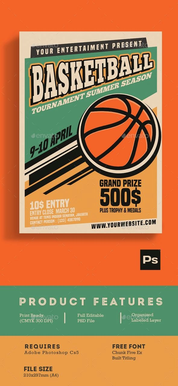 Basketball tournament Flyer Template Lovely Basketball tournament Vintage Style — Shop Psd