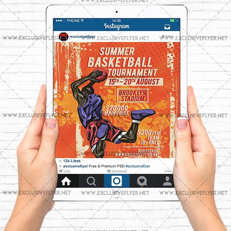 Basketball tournament Flyer Template New Summer Basketball tournament – Premium A5 Flyer Template