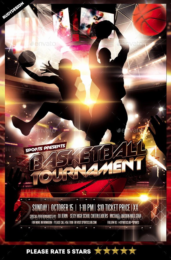 Basketball tournament Flyer Template Unique Basketball tournament Flyer by Rudydesign