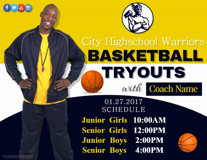 Basketball Tryout Flyer Template Elegant Basketball Tryouts Template