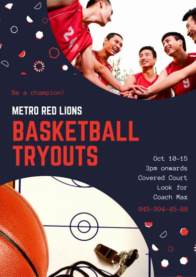 Basketball Tryout Flyer Template Lovely Customize 277 Sports Poster Templates Online Canva
