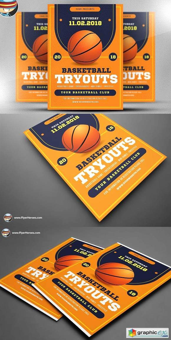 Basketball Tryout Flyer Template Luxury Basketball Tryouts Flyer Template Free Download Vector