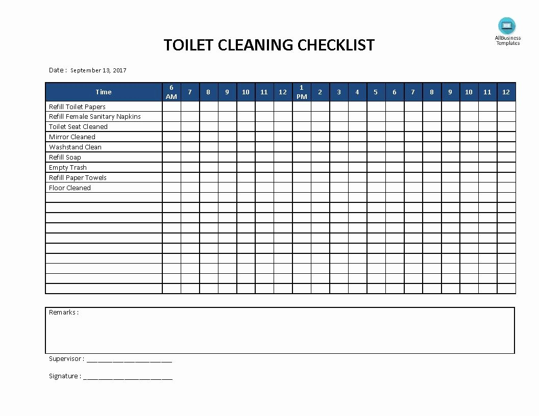 Bathroom Cleaning Checklist Template Elegant Free toilet Cleaning Checklist