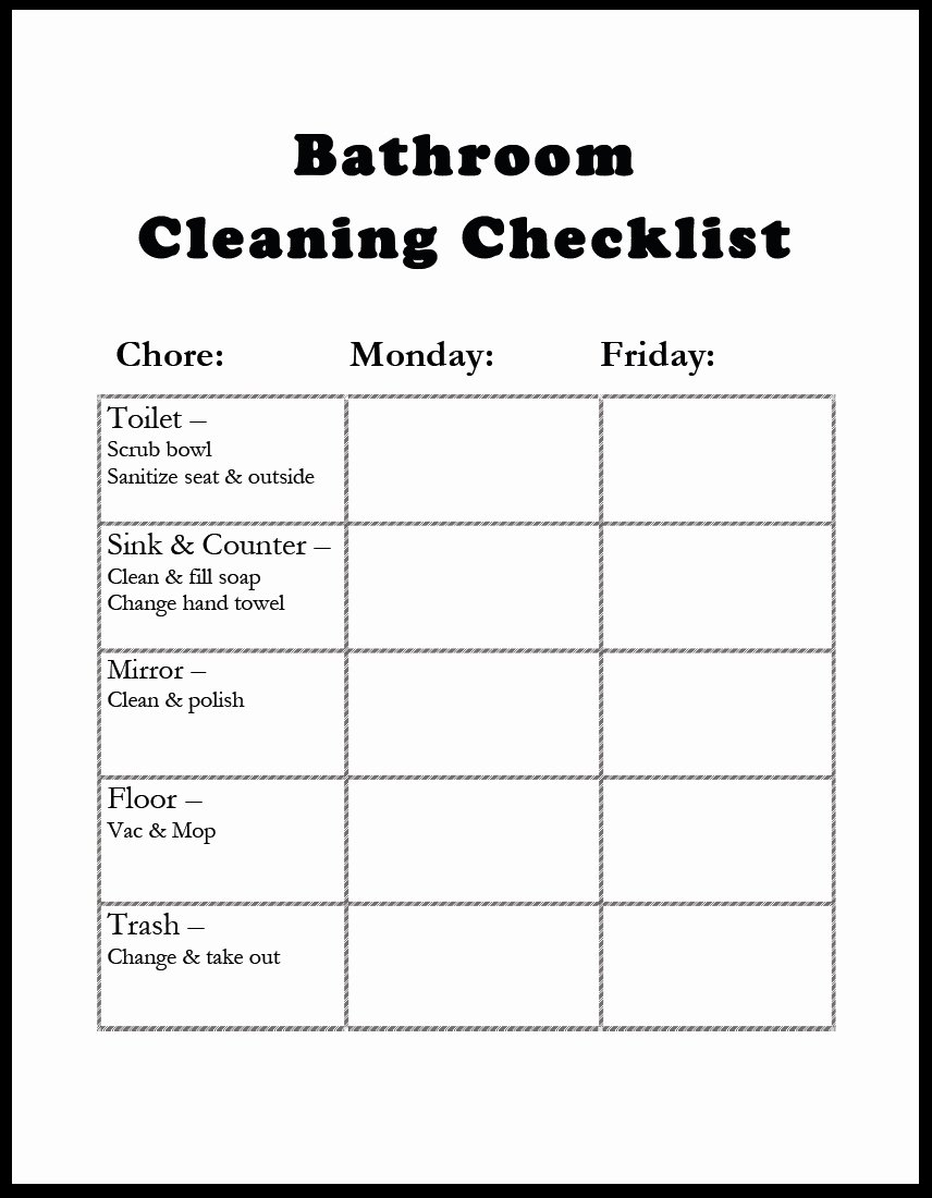 Bathroom Cleaning Checklist Template Unique Amazing Of Latest Awesome Bathroom Cleaning Checklist Tem