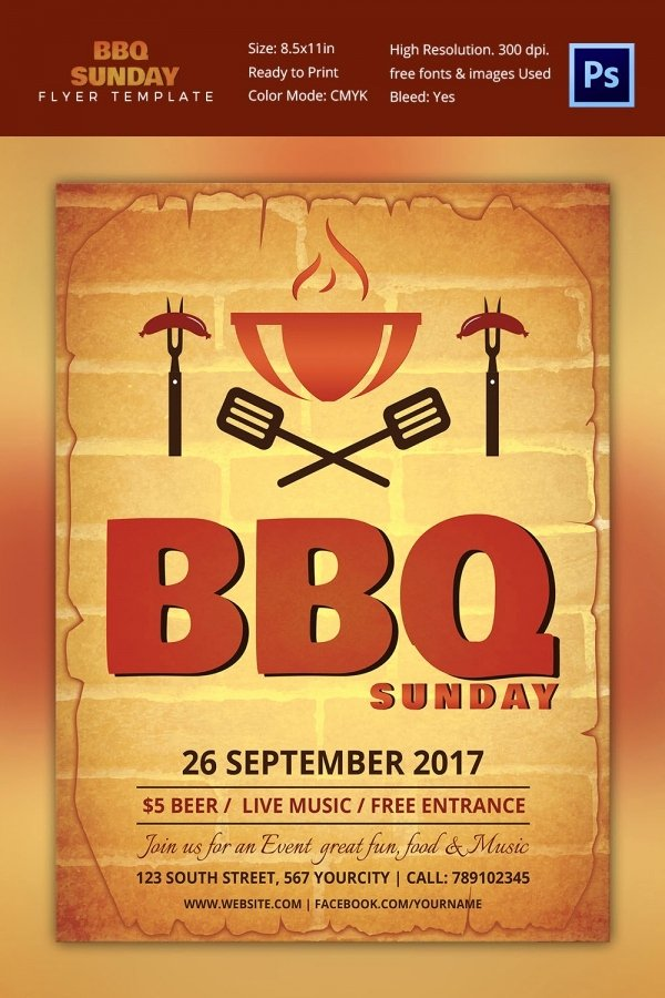 Bbq Flyer Template Free Awesome 25 Bbq Flyer Template Free Word Pdf Psd Eps