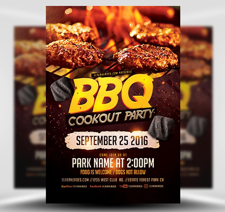 Bbq Flyer Template Free Awesome Bbq Cookout Party Flyer Template Flyerheroes