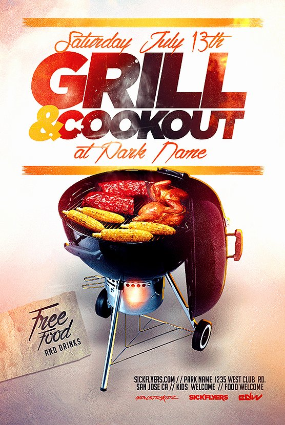 Bbq Flyer Template Free Beautiful Bbq Cookout Flyer Template On Behance