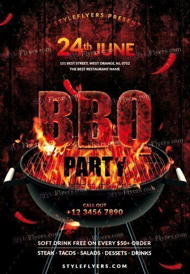 Bbq Flyer Template Free Elegant Bbq Psd Flyer Template Styleflyers