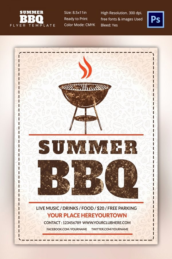 Bbq Flyer Template Free Unique 25 Bbq Flyer Template Free Word Pdf Psd Eps