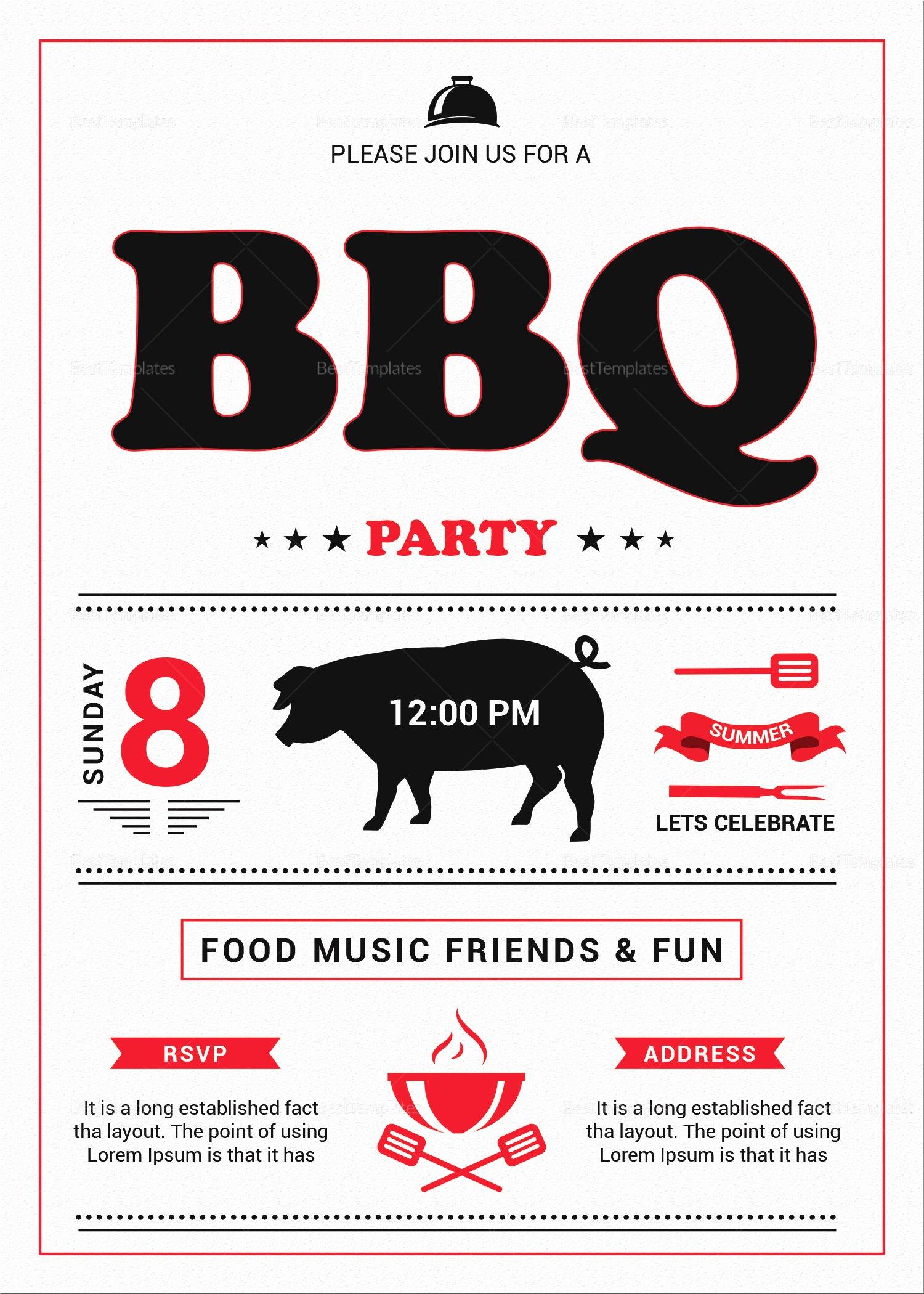 Bbq Invitation Template Word Fresh Tasty Barbecue Lunch Invitation Design Template In Psd