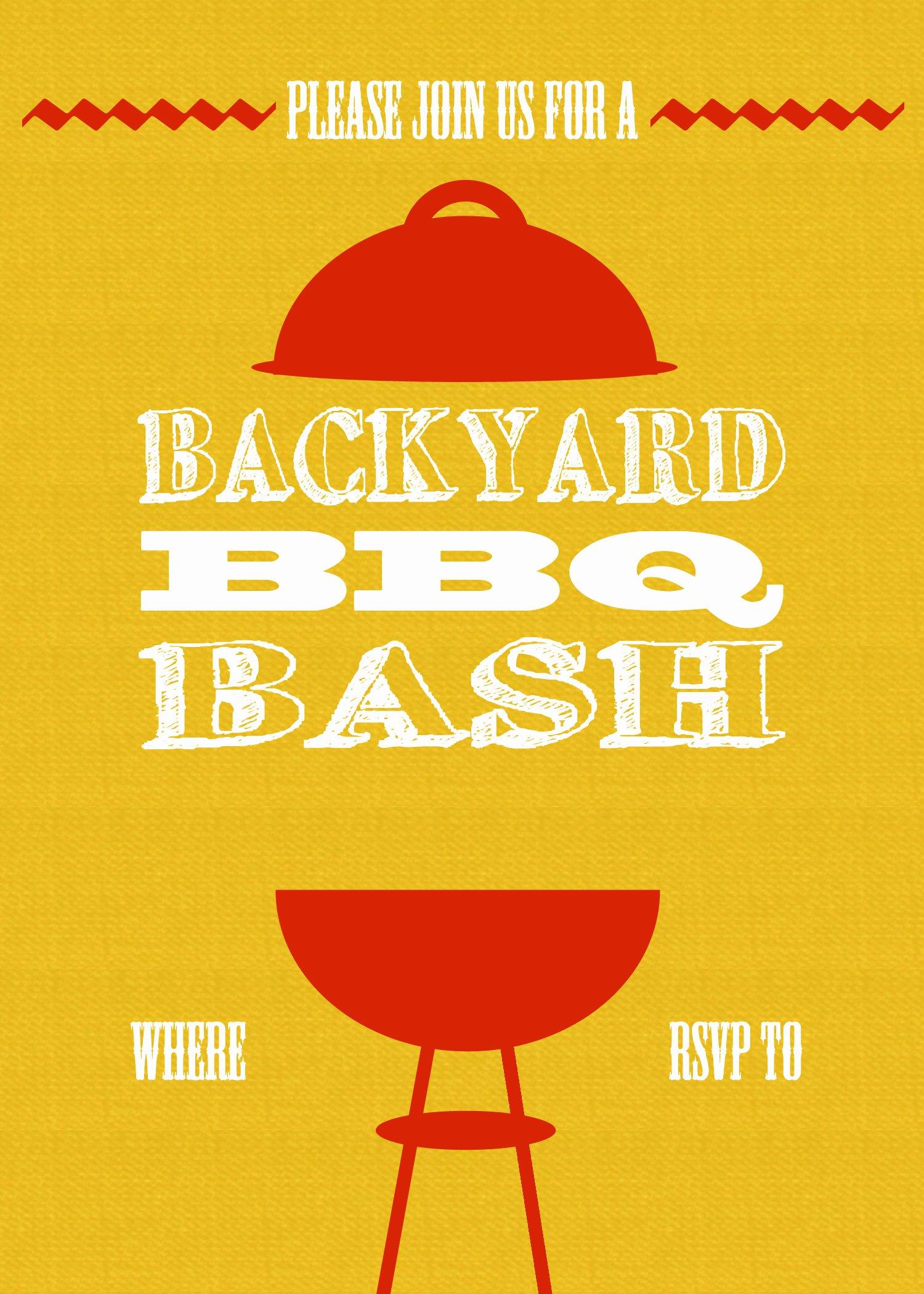 Bbq Invitation Template Word Lovely Diy Printable Backyard Bbq Bash Invite