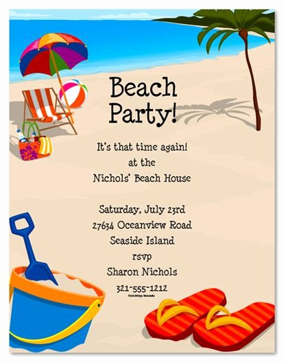Beach Party Invitation Template Awesome Beach Party Invitation Templates Free